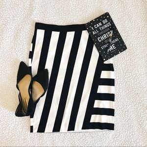 Banana Republic Black & White Stripe Pencil Skirt